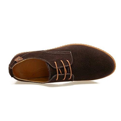 Zapatos YiJee Ocio Extra Hombre los Cordones Zapatillas Marrón Oxfords de Talla qrzr7gt