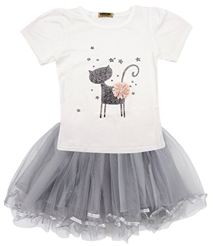 BabyPrice Little Girl Cute 2PCS Clothing Set Birthday Party Outfit Tops T-Shirt + Tutu Skirt Set