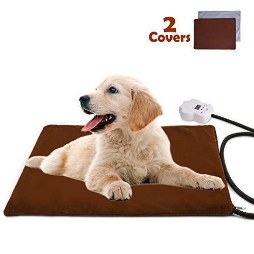- FOCHEA Pet Heating Pad, Waterproof Electric Heating Pad Adjustable Warming Mat with 2 Removable Covers for Dogs Cats (15.7