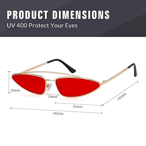 Vintage 2018 Diseñador Hombres 1 Retro Lente Mujeres Marco Small para Cat Rojo Metal Oro Sunglasses ADEWU Eye PwYBUqXx