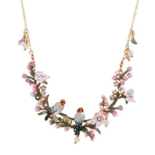 Gilded Hand-painted Enamel Necklace Romantic Cherry Blossom Series Accessories Extravagant Lady's Neck Ornament