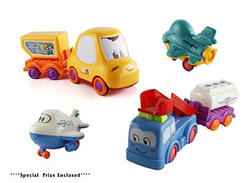 Bezrat Push and Go Friction Powered Construction Truck Toy Cars Set of 6 Pull Back Racer Cars-Mix Moving Parts Imagination Play Time For Toddlers, Boys & Girls (colors may vary) (Roll Back Car)
