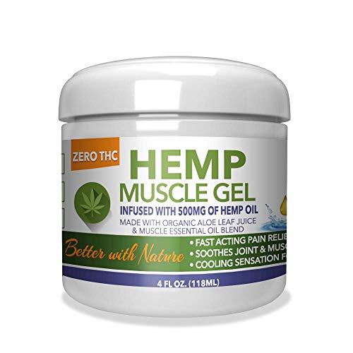 Hemp Muscle Gel 500mg, Pain Relief, Easy to Use, Effective Ointment for Inflammation & Sore Muscles, Cooling Gel