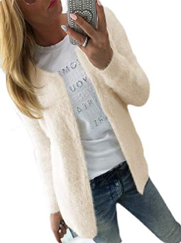 Women's Fall Classic Soft Long Sleeve Open Front Sweater Knit Cardigan Apricot M ()