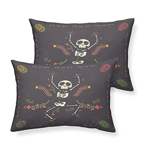 Oliven Pillowcases Black Dance Skull Printed King Size Pillow Cases Hallow Decorations Day of The Dead Decor by Oliven
