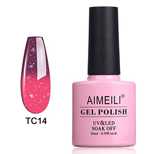 AIMEILI Soak Off UV LED Temperature Color Changing Chameleon Gel Nail Polish - Violet Villain (TC14) 10ml -