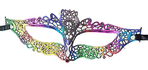 Coolwife Women's Sexy Lace Masquerade Masks For Nightclub Dance Fancy Ball Halloween (Fancy Rainbow) (Halloween Club Masquerade Masks)