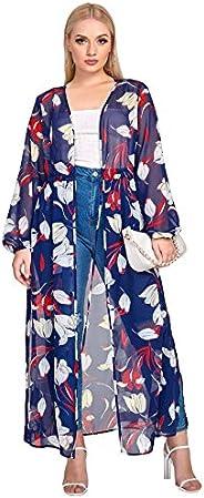 Romwe Women's Plus Size Floral Print Sheer Beach Swimsuit Cover up Long Ki
