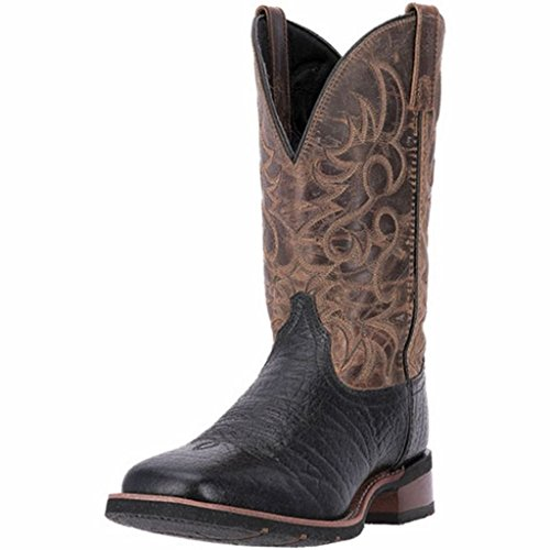 Laredo Men's Topeka Squere Toe Western Embroidered Cowboy Boots, Brown Leather, 11 (11' Mens Stockman Boot)