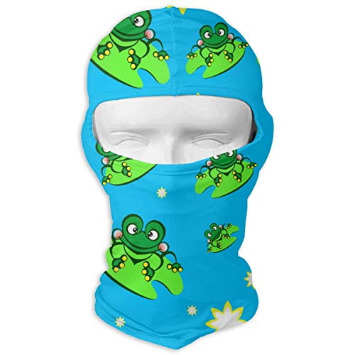 Frog On Lotus Leaf Balaclava Face Mask Hood Multicolor Thermal Windproof Ultraviolet-Proof Mask for Motorcycle Hiking Skiing