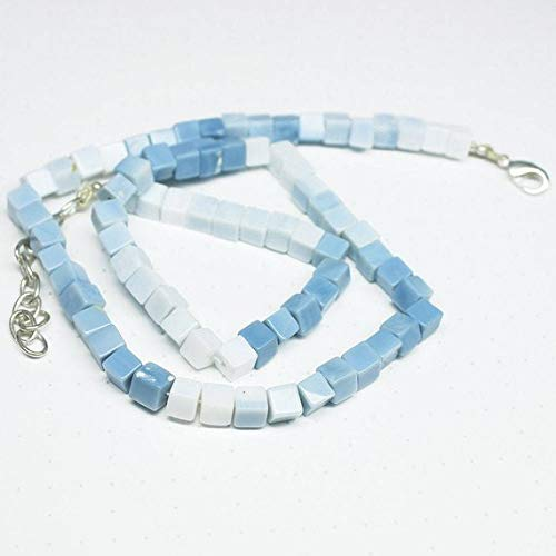 Beads Bazar Natural Beautiful jewellery Natural Blue Opal Smooth Square Box Cube Gemstone Loose Craft Beads Strand Necklace 17