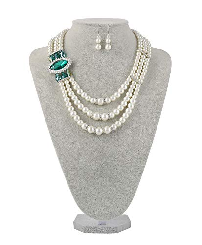 Radtengle 1920s Gatsby Pearl Necklace Earrings Set Wedding Bridal Imitation Pearl Necklace Jewelry Set for Women - Green Imitation Pearl