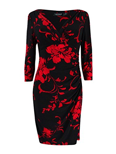 Lauren Ralph Lauren Women's Petite Printed Jersey Surplice Dress (8P, (Jersey Surplice Dress)