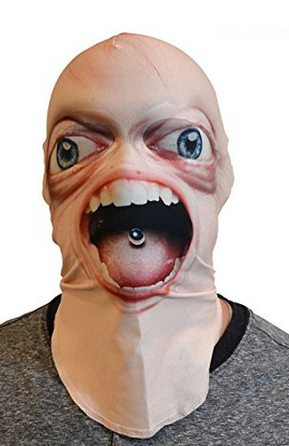Scariest Masks (Weird & Creepy Full Face Scary Realistic Big Eyes Sublimated Fabric Mask - One Size Fits Most Adults)