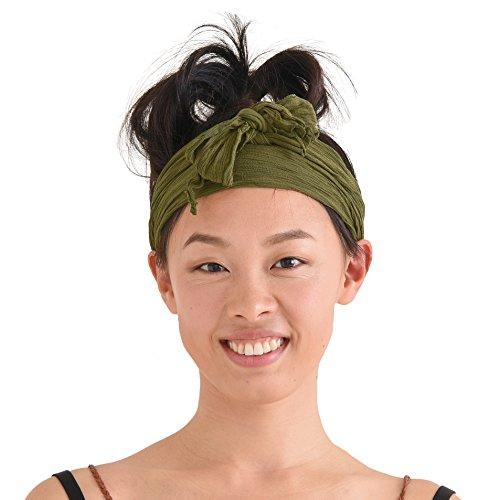 CHARM Casualbox | Womens Headband Head Scarf Turban Wrap Festival Retro Hair Accessory Green