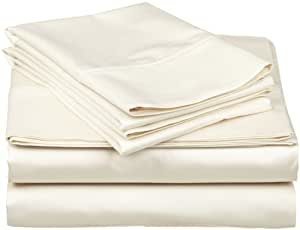 Cotton Sheets, Ivory Solid 4 Piece Full XL Bed Sheet Set Real Egyptian  Cotton