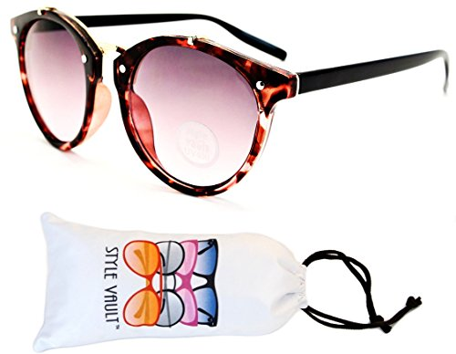 V118-vp Style Vault Round 80s Sunglasses (T2529H Tortoise Pink/Gold/Black-Pink Smoked, - Sunglasses 80s Style Pink