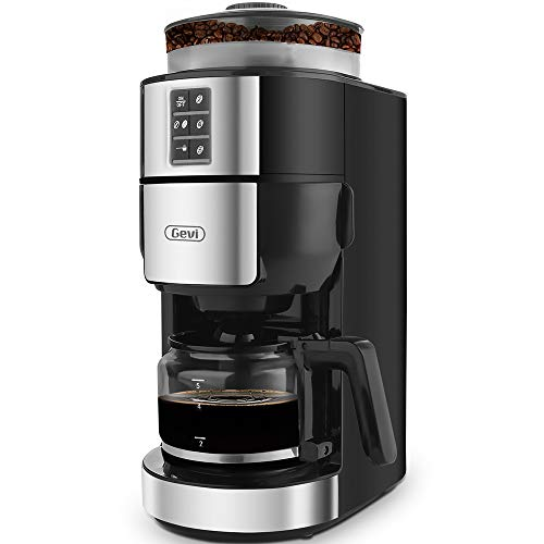 Grind and Brew Coffee Maker with Built-In Burr Coffee Grinder, Programmalbe Drip Coffee Machine, 5-Cups,Black