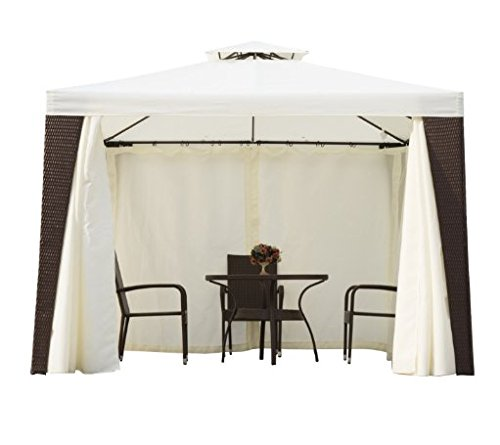 Luxurious 3m X Brown Beige Rattan Gazebo With Curtain