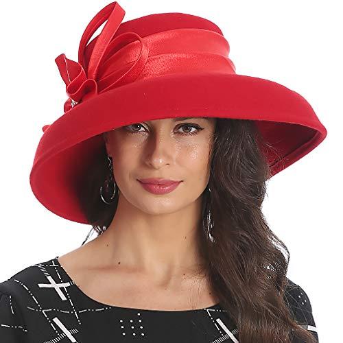 (FORBUSITE Elegant Women Wool Felt Floral Trimmed Cloche Bucket Winter Church Hatss (Red))
