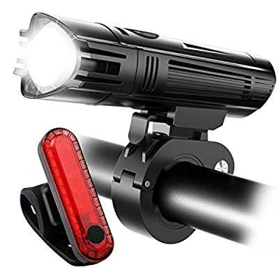 Ascher USB Rechargeable Bike Light Set, LED Bicycle Headlight & Tail Light, 4 Light Mode Options, IPX4 Water Resistant Bicycle Light Accessories Set For Road & Mountain Cycling