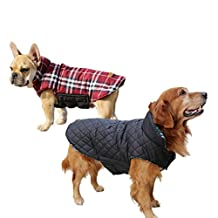 Liquor Pet Clothes Winter Warm Grid Reversible Double-sided Vest Jacket Coat Red Size XX-Large XXL