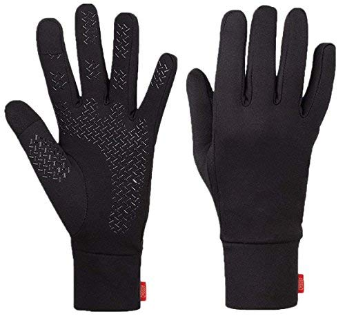 Aegend Running Gloves Women Men Touch Screen Cycling Sports Mittens Liners Warm Gloves, Black, Medium