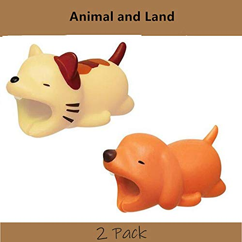 (YMH Cable Protector for iPhone iPad Cable Plastic Cute Land Animals Phone Accessory Protects USB Charger Data Protection Cover Chewers Earphone Cable Bite 2 PC (Dog&Cat))