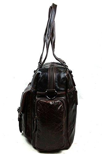 insum Hombre Piel de Fashion bolso de mano bolso Marrón - Dark Coffee