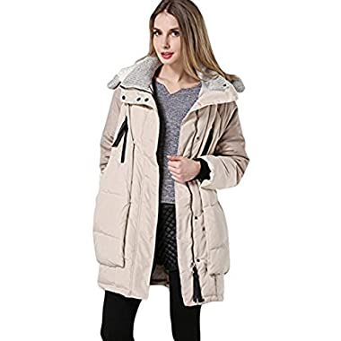 Orolay Women's Thickened Down Jacket (Medium, Beige)