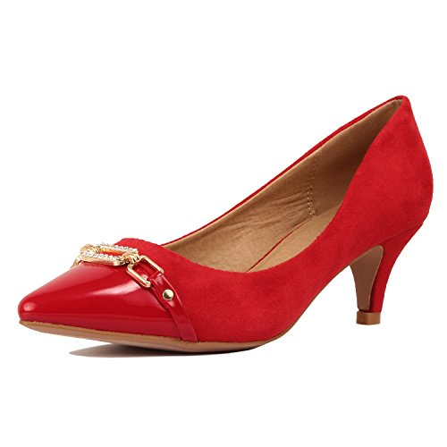 Guilty Shoes Womens Classic - Closed Pointy Toe Low Kitten Heel - Dress Slip On Pump (7 B(M) US, 12-Red)