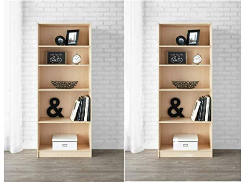 - Mainstay 5-Shelf Standard Wood Bookcase (Set of 2) in Birch Finish + Include Free Furniture Polish