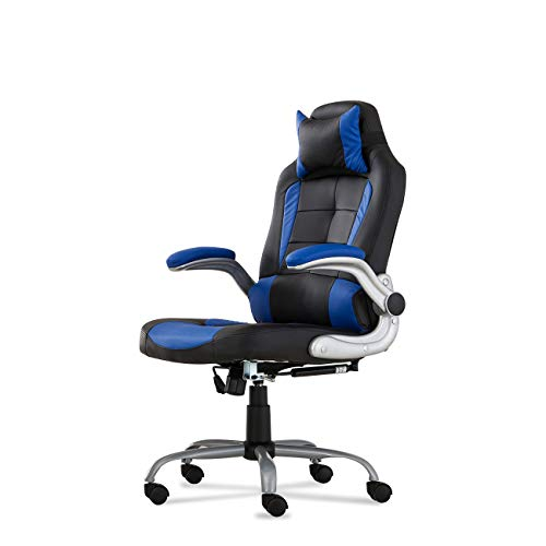 Belleze High-back Ergonomic PU Leather Racing Chair Executive Office Reclining Chair, (Black/Blue) Belleze