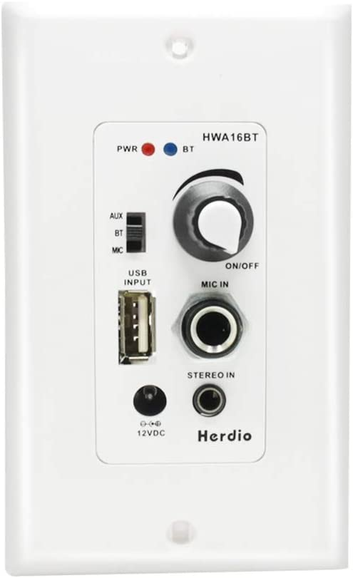 Herdio in Wall Bluetooth Audio Control Amplifier Receiver Wall Plate with USB Microphone Aux (3.5mm) Input 100Watt Max Module for Sound Systems Home Theater Integration
