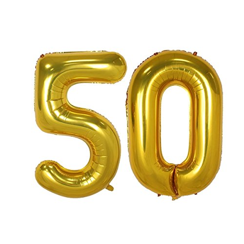 40inch Gold Number 50 Balloon Party Festival Decorations Birthday Anniversary Jumbo foil Helium Balloons Party Supplies use Them as Props for Photos (40inch Gold Number 50)