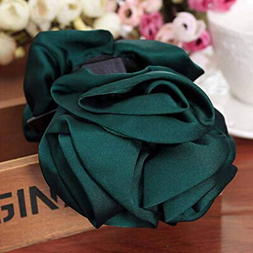 Ribbon Bow Headwear Clip Hair Accessories Women Hair Claws Rose Flower Jaw (Color - Dark Green)