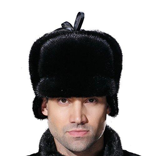 URSFUR Winter Men Fur Captain Hats Real Mink Fur Hunting Cap Black L by URSFUR