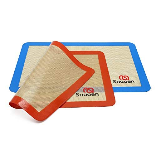 Silicone Baking Mat,2 Sheets Pack Size 16.5 inch x 11 5/8 inch Heat Range From -40℉ TO 500℉ Non Stick Even Heat Distribution Sheet for Macaron/Pastry/Cookie/Bun/Bread Making By SNUOEN