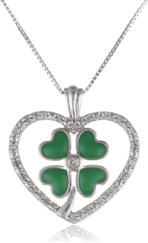 10k White Gold Green Enamel Four-Leaf Clover with Diamond Heart Pendant Necklace (0.07 Cttw I-J Color, I2-I3 Clarity), 18""