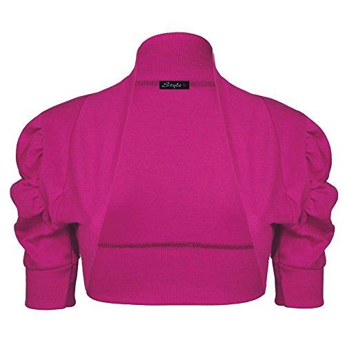 Janisramone Mujeres algodón fruncido bolero puff encogiéndose de hombros rebeca crop arriba manga Cerise