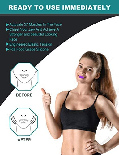 Jaw Exerciser, 2021Jawline Exerciser Face and Neck Toning Ball Equipment, Define Your Jawline, Slim and Tone Your Face, Look Younger and Healthier, jawline Exerciser for Women and Men (Purple) 2