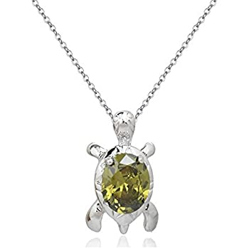 Turtle Pendant Necklace with Purple Violet Zirconia Crystals 18 ct White Gold Plated for for Women and Girls 18 SrNIPHO8s7