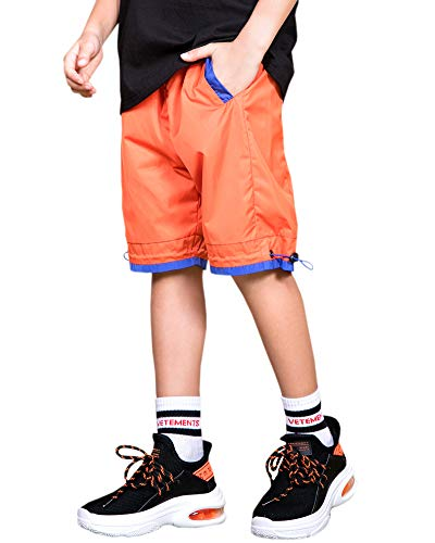 Welity Boys' Girls' Athletic Workout Gym Running Shorts with Pockets, Beach Boardshort for Youth Boys & Girls, Orange, 11-12 Years=Tag 160 by Welity (Image #2)