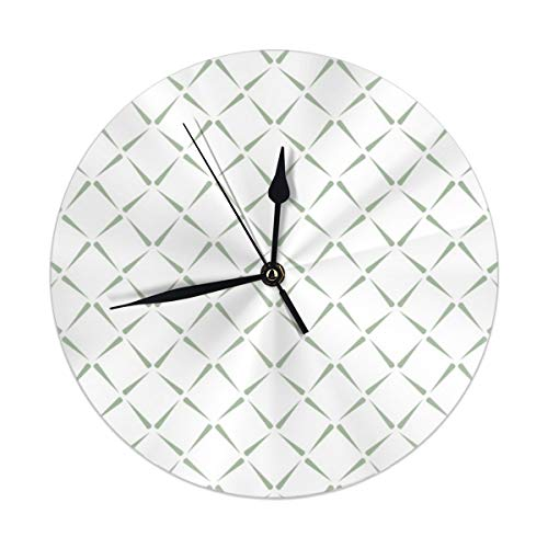 Dadi-Design A Cubists Twist White On Green Wall Clock Silent & Non-Ticking Quartz Clock PVC for Home Office School Decorative Round 9.8