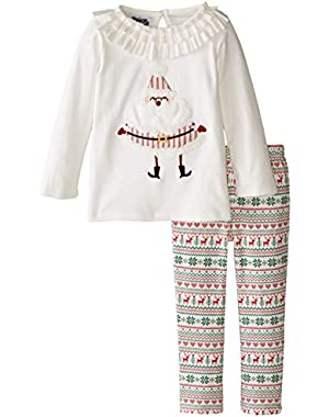 Little Girls' Santa Top and Legging Two-Piece Set