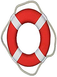 Hampton Nautical Vibrant Red Lifering with White Bands, 10&