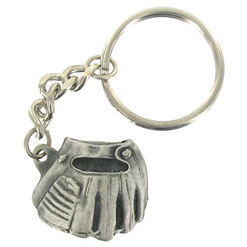 Baseball Glove and Ball Antique Pewter Finished with Split Keyring and Chain
