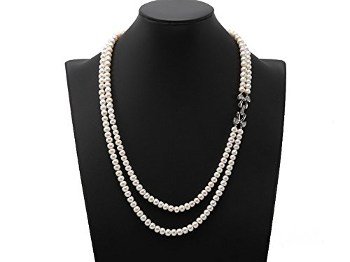 Baroque Necklace Double Strands Pearl (JYX Pearl Double Strand Necklace AA+ Quality 7-7.5mm White Flatly Round Freshwater Pearl Necklace)