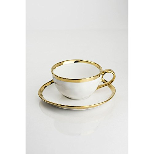 Yedi Houseware Bone China Collection Cup and Saucer 10 oz Set of 4