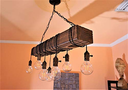 - wood beam chandelier | wood chandelier made with real barn wood made in the USA | many sizes available | made with eco-friendly materials | Muller Designs german quality made in the USA